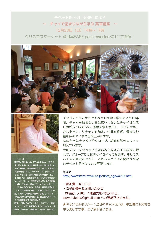 ワークショップイベント ~チャイで温まりながら学ぶ薬草講座~ byチベット医 小川康先生